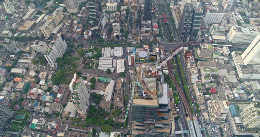 Thailand Bangkok Aerial v8 Rotating vertical view of Bang Rak district with tower view 3/18 | Shutterstock HD Video #1016694751