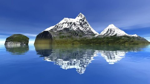 Islands, 3d rendering, a natural landscape, snowy mountains, reflection on water and a blue sky.