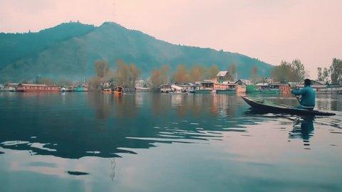 boating in the beautiful lake in Kashmir.