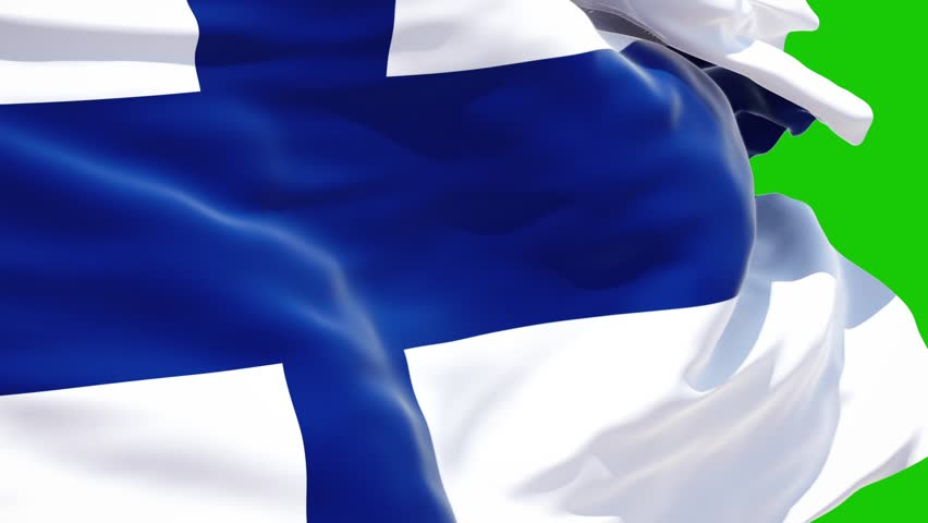 Finland flag waving on green background, 3d rendering, isolated