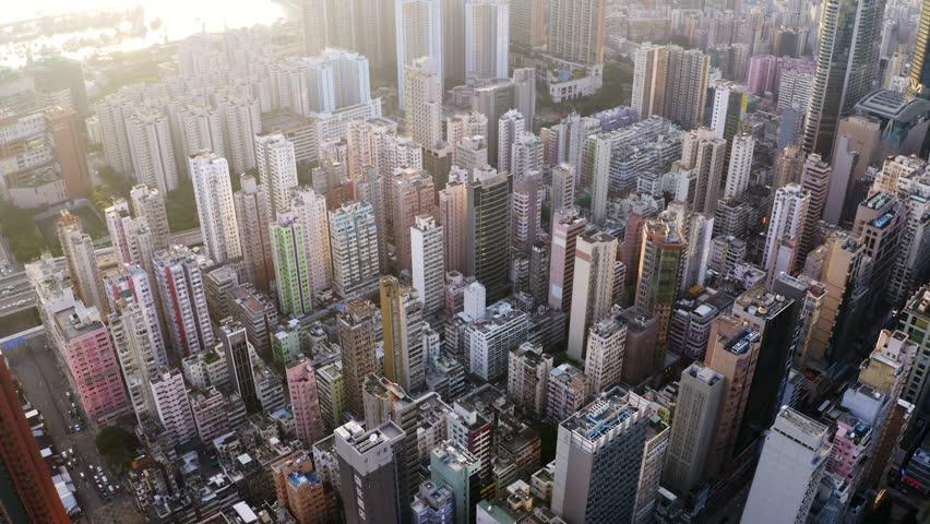 Sham Shui po, Hong Kong, 28 August 2018:-Top view of Hong Kong city   Shutterstock HD Video #1016747191