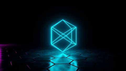 Futuristic Sci Fi Dark Wet Empty Room With Blue Neon Glowing Abstract Geometric Figure Rotating On Grunge Concrete Hexagon Floor With Reflections 3D Rendering Video