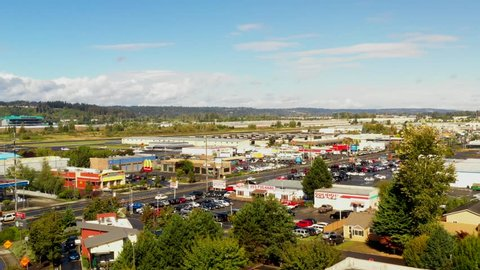 AUBURN, WASHINGTON, USA - SEPTEMBER 15, 2018: Aerial footage Auburn Washington business district