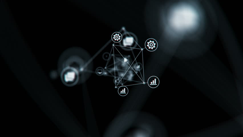 Connected Network Icons Symbols Flying in Abstract Space Changing. Lines and Dots. Beautiful Looped 3d Animation with DOF Blur. Digital Technology and Information Concept. 4k Ultra HD 3840x2160. | Shutterstock HD Video #1016824981