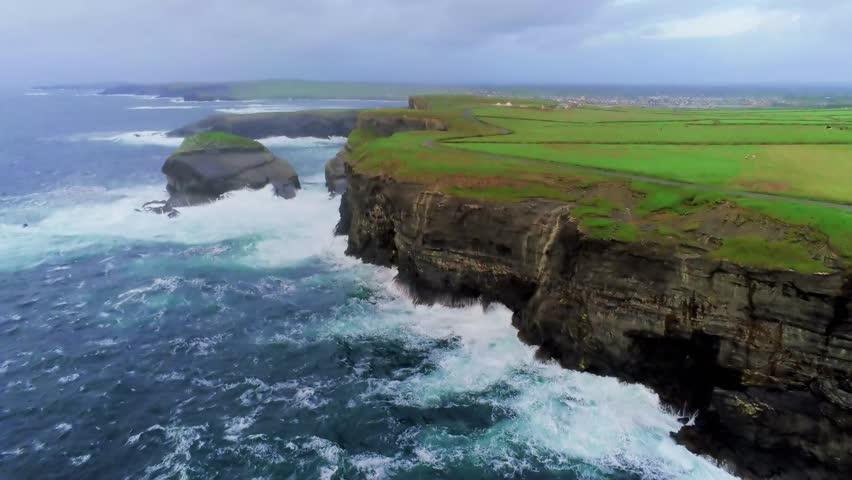 Awesome drone flight along the Irish west coast | Shutterstock HD Video #1016874451