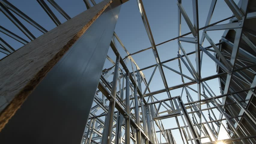 Modern Newly Developed Skeleton Steel Frame Structure. Camera Movement | Shutterstock HD Video #1016941051