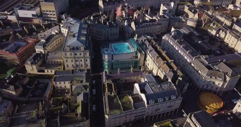Aerial footage of Bath with rooftop hot spa bath
