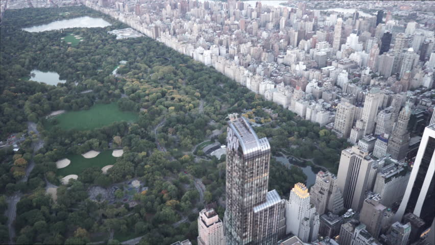 New York City Circa-2015, daytime aerial view of Upper East Side and Central Park from Midtown Manhattan