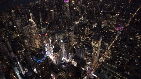 New York City Circa-2015, wide angle aerial view of Midtown Manhattan and Times Square at night from 8th Avenue