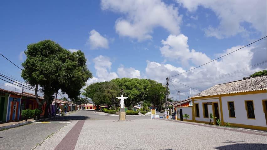 Daylight Scene in Arraial D'Ajuda Bahia Brazil: Main Square Timelapse