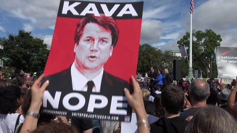 WASHINGTON, DC - SEPT 28, 2018: Rally at Supreme Court against Bret Kavanaugh nomination for associate justice. Sen Richard Blumenthal with Sens. Hirono, Gillibrand, & Harris, leads un-fit chant.