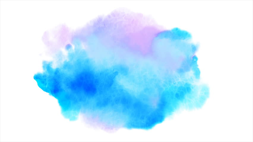 Beautiful blue spot appears on a white background. Light cyan and pink paints spreads on paper forming a blot. | Shutterstock HD Video #1017129571