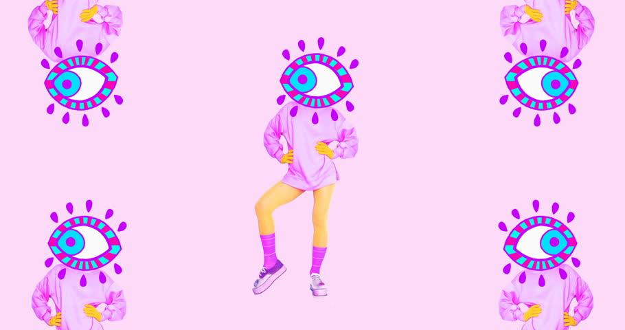 ?ontemporary motion art. Dancing girl Eyes. Fashion vanilla vibes | Shutterstock HD Video #1017143131