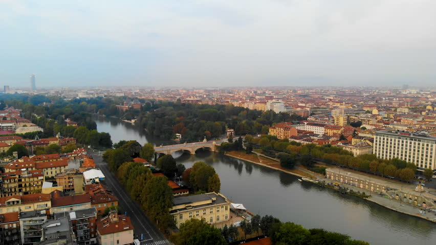 Turino Aerial skyline view of city and river at sunrise. | Shutterstock HD Video #1017143341