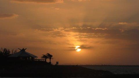 Sunset of Okinawa Naha Umisora Park