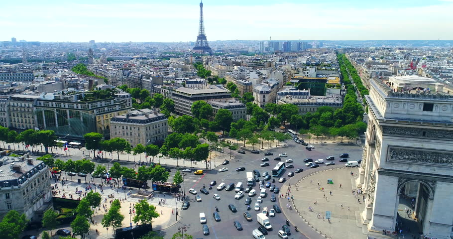 Arc of Triumph Aerial Paris | Shutterstock HD Video #1017185701