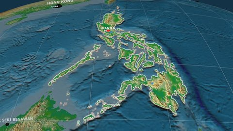 Zoom-in on Philippines extruded on the globe. Capital, administrative borders and graticule. Colored physical map