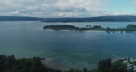 Aerial view Lake Constance  4K going up