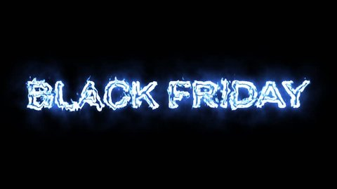 Black friday fiery text animation on black background