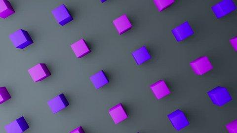 3d cubes gradient background. VJ Seamless loop background.