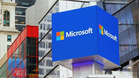NEW YORK - MAY 29: Microsoft high tech illuminated billboard advertising on May 29, 2015. Microsoft is the world's largest software maker by revenues and is one of the world's most valuable companies.