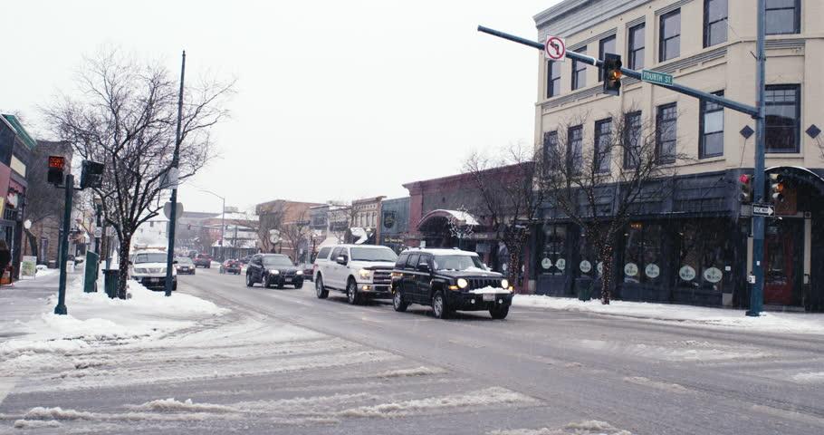 Coeur d'Alene, Idaho / USA - December 29 2017: Busy street in