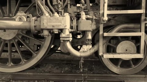 Hot water flows from the locomotive
