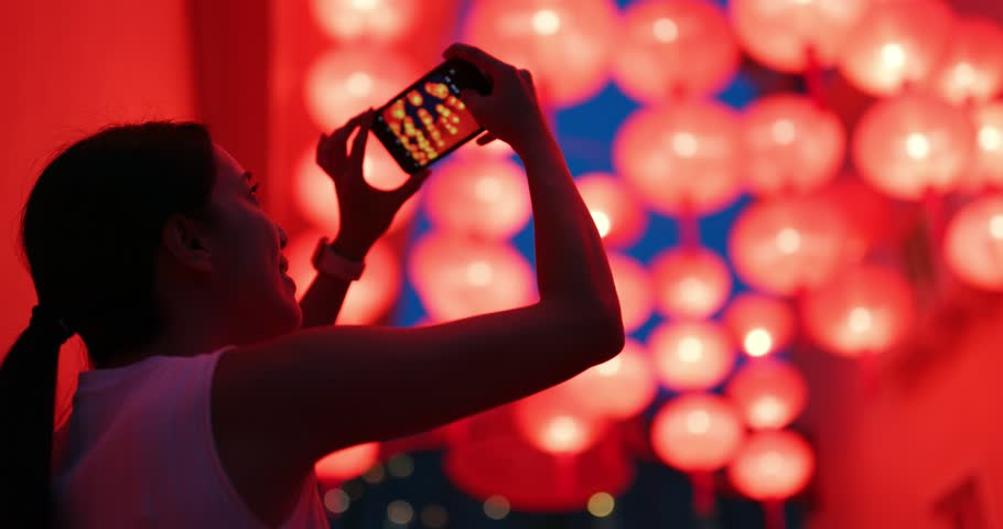 Woman take photo of red lantern | Shutterstock HD Video #1017385981