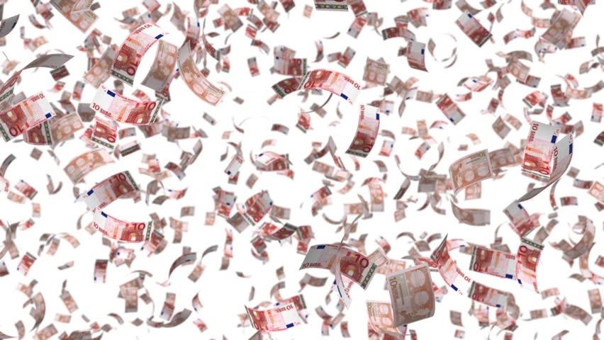 falling money leaf fall, alpha transparency Europe  Euro EUR