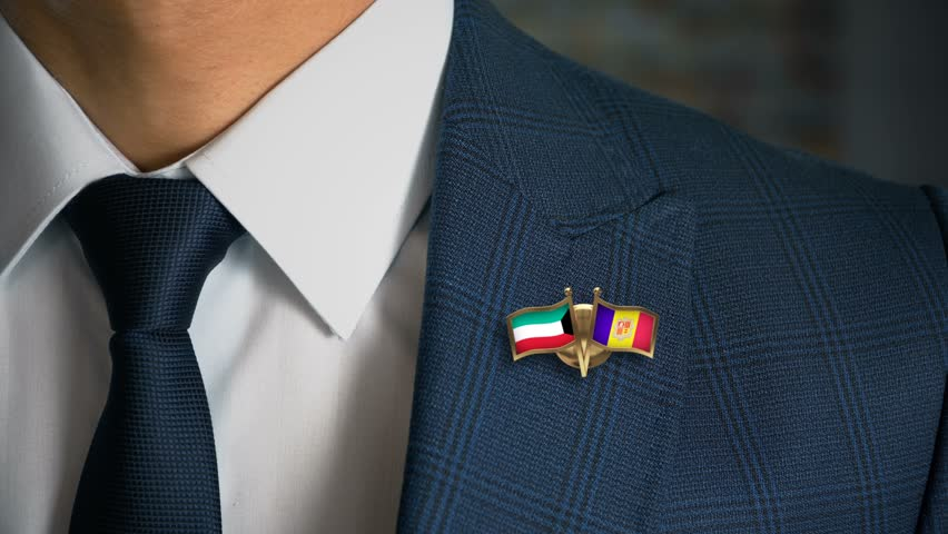 Businessman Walking Towards Camera With Friend Country Flags Pin Kuwait - Andorra
