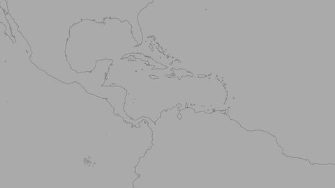 Caribbean tectonic plate shape animated on the elevation grayscale map in the van der Grinten projection with oblique transformation. Borders first. Peter Bird's division