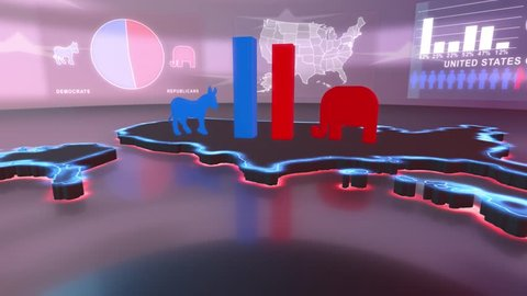 3d animated Map of the USA with charts building up showing 52% for Democrats and 48% for Republicans in 4K resolution
