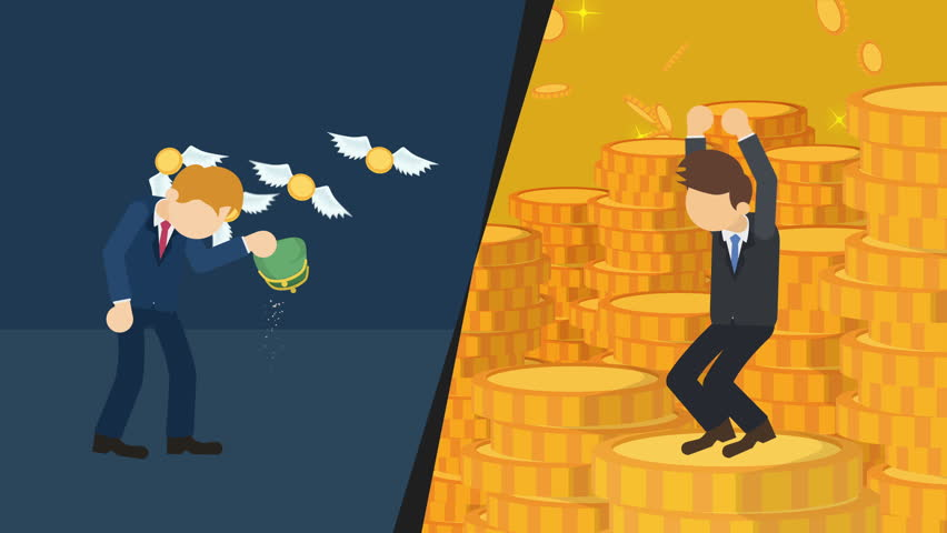 Business difference. Rich man versus poor man. Inequality concept. Loop illustration in flat style.