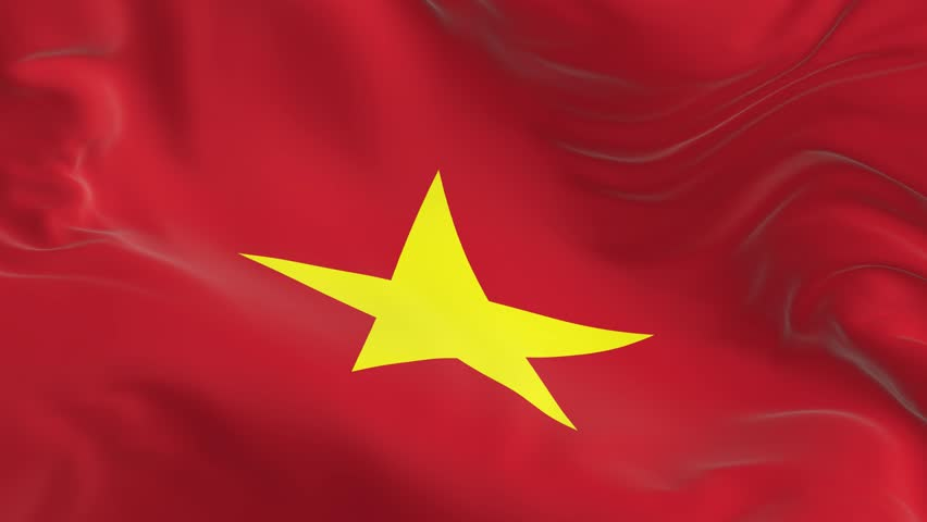 Waving a looped flag as a background Vietnam