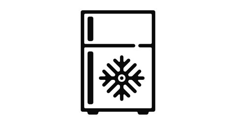 Freezer line icon motion graphic animation with alpha channel.