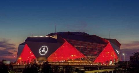 ATLANTA, GA - September 29, 2018: Mercedes-Benz Stadium on September 29, 2018 in Atlanta. Mercedes-Benz Stadium is the home of the Atlanta Falcons NFL team and has a unique eight-panel retractable roo