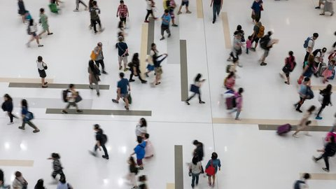 Crowd Of Anonymous Unrecognizable People Walking In Mall - time lapse