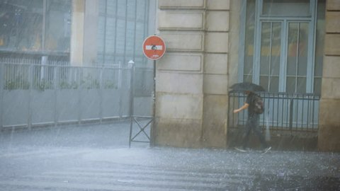 Extreme weather hailstones on the streets of Paris people are hiding from the rain