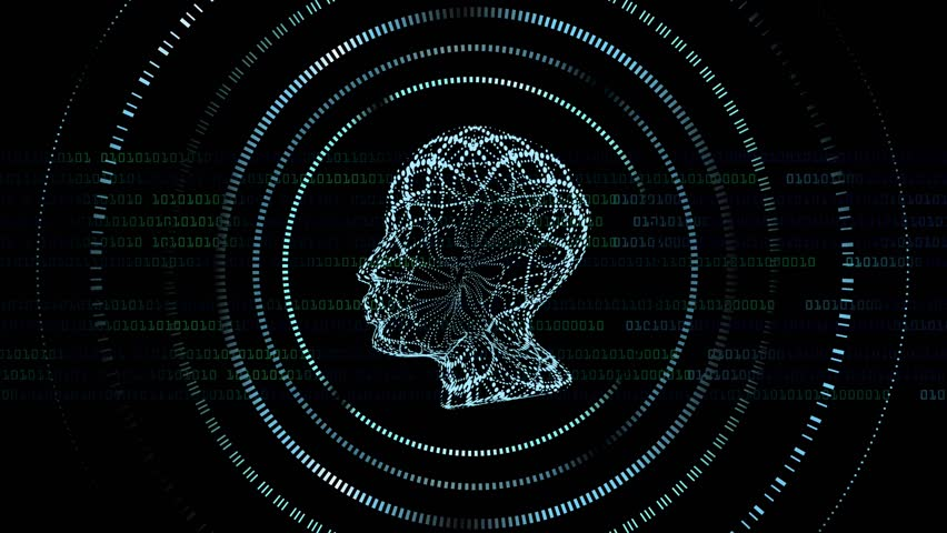 Profile technology video with binary computer code or programing code on the background. It is good for Ai (Artificial Intelligence) or medical materials. #1017602071