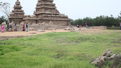 MAMALLAPURAM,TAMIL NADU, INDIA - SEPTEMBER 2018: Historical monolithic architecture built by the Pallava dynasty, Mahabalipuram, Kancheepuram District, Tamil Nadu, India