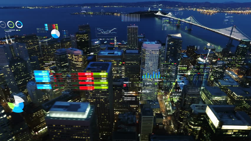 Aerial view of San Francisco with financial charts and data. Futuristic city skyline. Big data, Artificial intelligence, Internet of things, VR. Stock exchange figures. | Shutterstock HD Video #1017618481