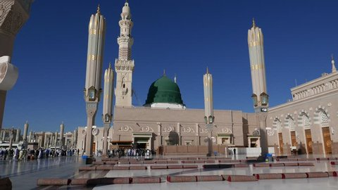 Masjid Al Nabawi or Nabawi Mosque (Mosque of the Prophet) in Medina (City of Lights), Saudi Arabia.Nabawi mosque is Islam's second holiest mosque after Masjidil Haram (in Mecca, Saudi Arabia)
