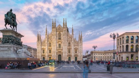 Time Lapse of People at Duomo di Milano or Milan Cathedral in city of Milan The famous Milan Cathedral timelapse hyperlapse (Duomo di Milano) and monument to Victor Emmanuel II on the Piazza del Duomo