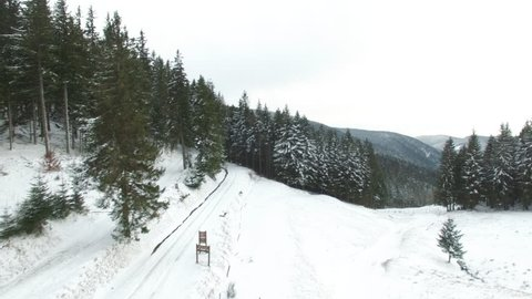 4K Aerial drone footage : Mountain in Alsace Vosges France. Winter 2016.