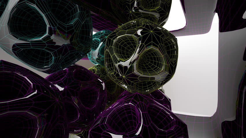 Abstract Architecture. Concept of colored organic architecture.3D animation and rendering | Shutterstock HD Video #1017918991