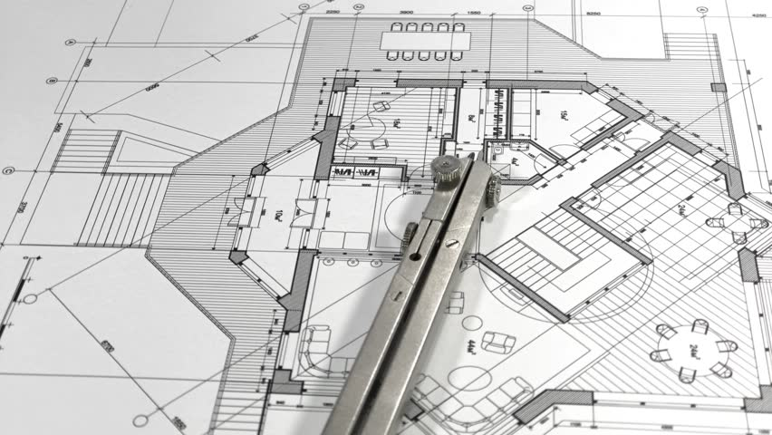 Blueprints - architectural drawings and compasses smoothly rotate on the surface of the architectural plan of a modern house | Shutterstock HD Video #1017920851