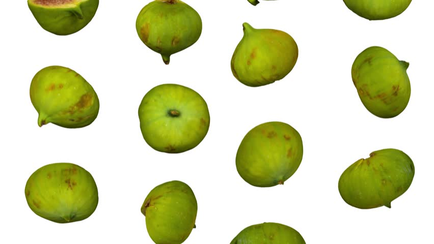 Realistic render of falling green calimyrna figs on white background. The video is seamlessly looping, and the 3D objects are scanned from real figs.  | Shutterstock HD Video #1017949951