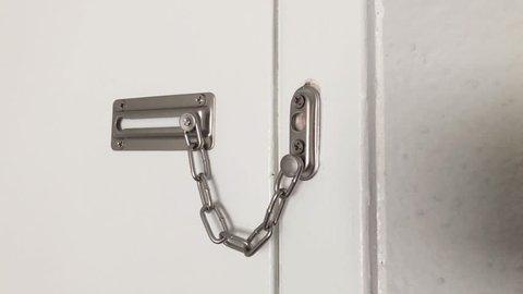 Locked door chain.