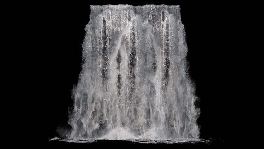 Waterfall texture seamless loop, 4k, isolated on black with alpha and separate foam layer