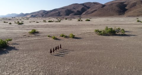 4K aerial zoom in view of five people from the Himba tribe walking in the Namib Desert,Namibia
